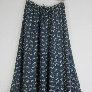 L.L. Bean X-Small Navy Blue Floral Midi Skirt XS